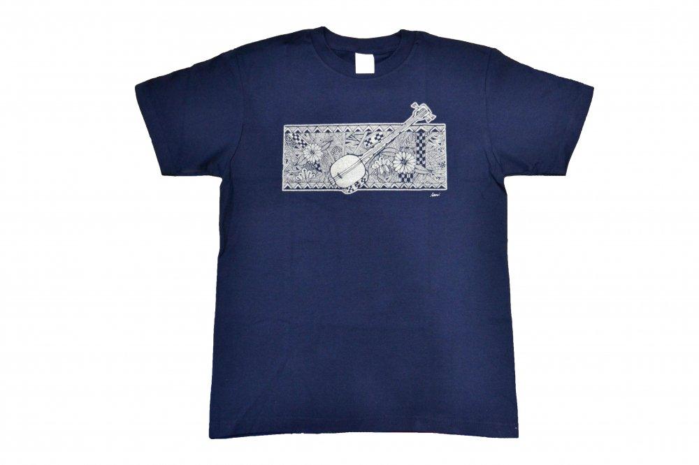 三線 Tシャツ トロピカル ネイビー