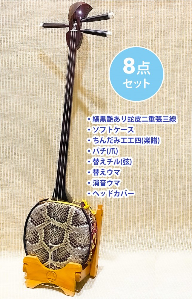 <img class='new_mark_img1' src='//img.shop-pro.jp/img/new/icons1.gif' style='border:none;display:inline;margin:0px;padding:0px;width:auto;' />縞黒 二重張三線 艶あり 8点セット(ソフトケース)