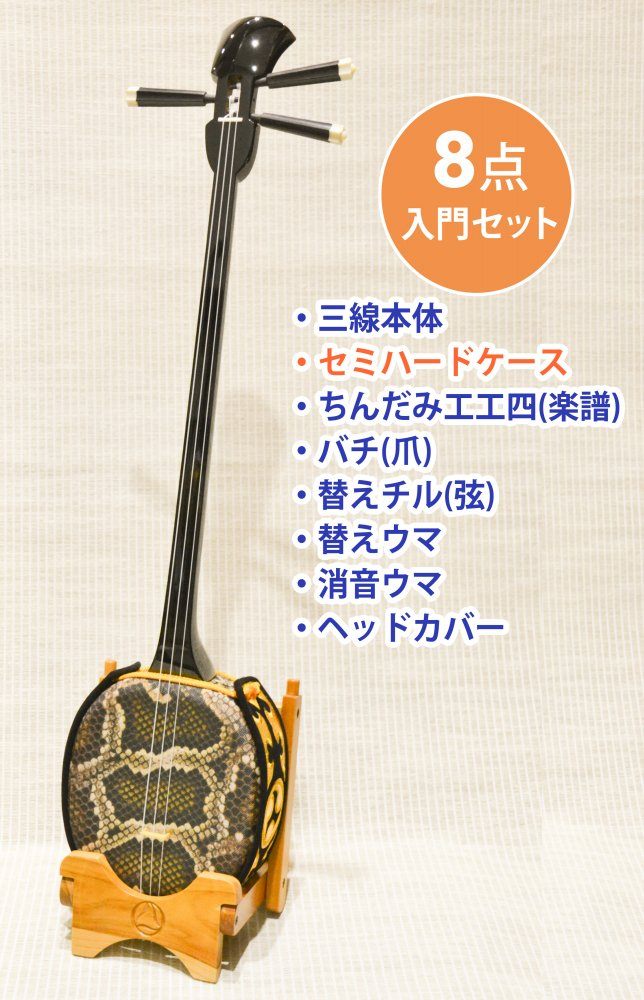 <img class='new_mark_img1' src='//img.shop-pro.jp/img/new/icons1.gif' style='border:none;display:inline;margin:0px;padding:0px;width:auto;' />南洋白木 人工皮張 入門用三線 8点セット (セミハードケース)