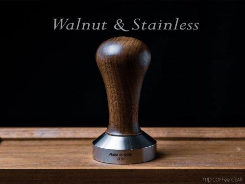 ウォールナット+ステンレスタンパー 49mm or 51mm or 58mm made in Italyの商品写真