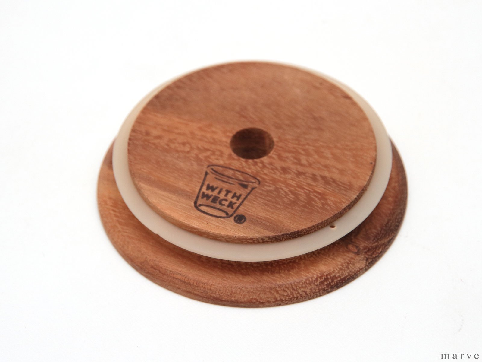 WITH WECK Wooden Lid with Hole Φ90 ウィズウェック 穴あきウッド蓋90φ