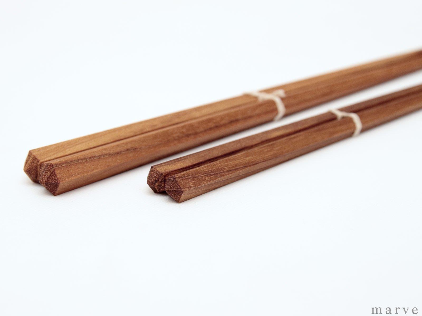五角箸 チーク21cm