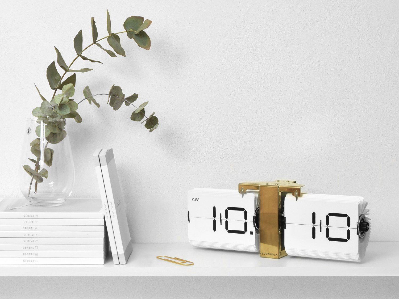 CLOUDNOLA Flipping Out Clock クラウドノラ フリッピングアウト時計(掛・置き両用)白/金