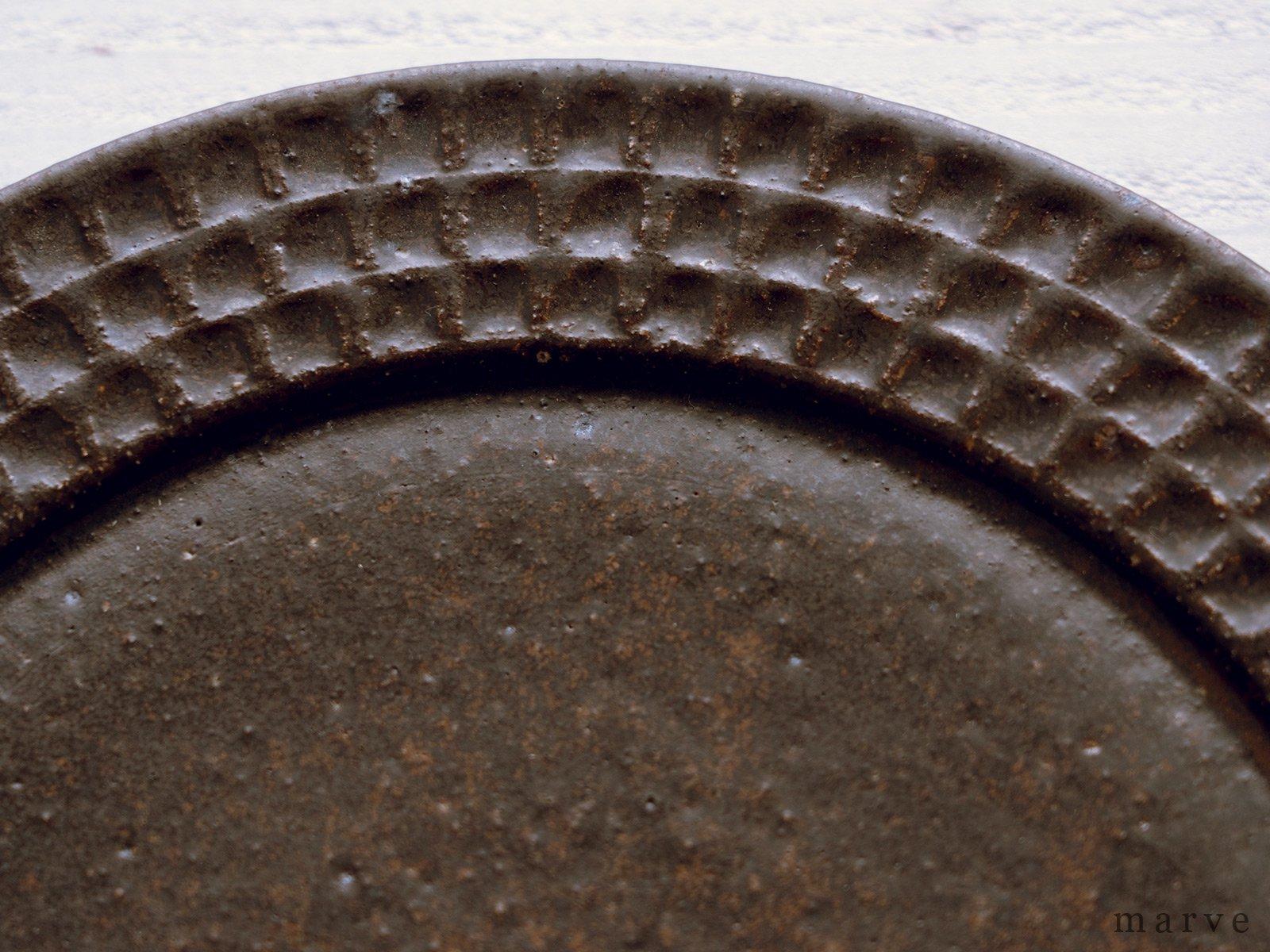 伊藤豊 ブロック柄 7.5寸皿 茶