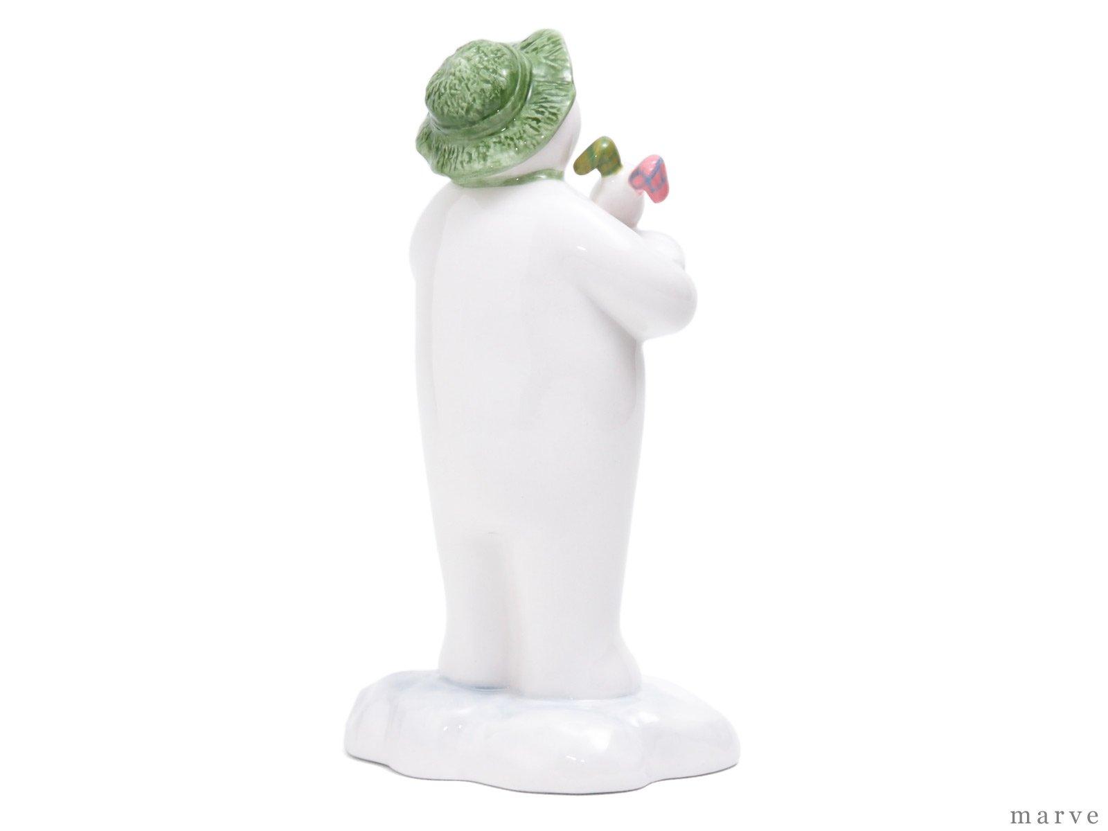 The Snowman フィギュリン スノードッグを抱くスノーマン