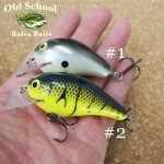 Old School balsa Baits Square Bill Crankbait