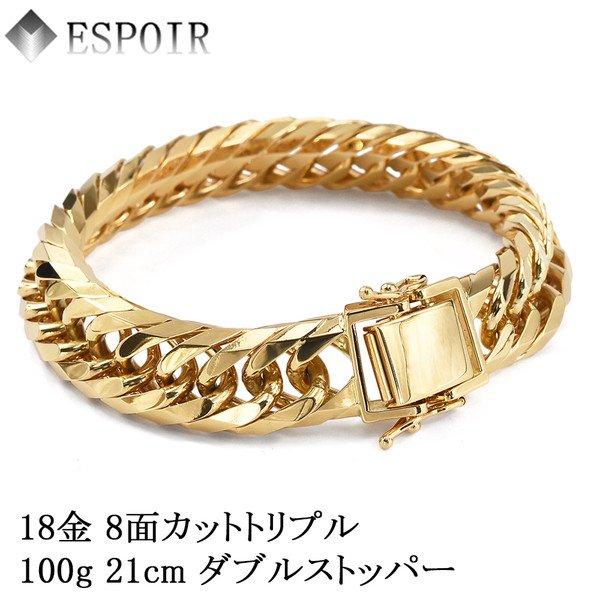 K18(18金)喜平8面Tトリプルネックレス・ブレスレット100g