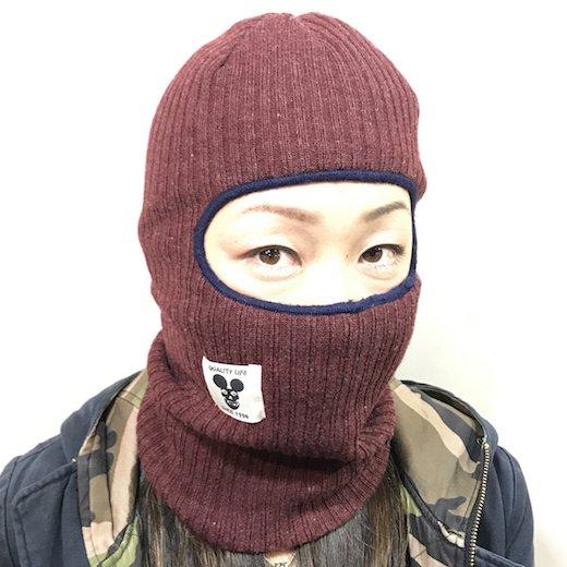 【SPINY★】KNIT CLAVA COAL ニット バラクラバ c: バーガンディ