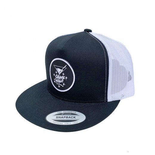 【SLAPPY HOUR】スラッピーアワー  KEN DAVIS LOGO MESH CAP c:Black/White
