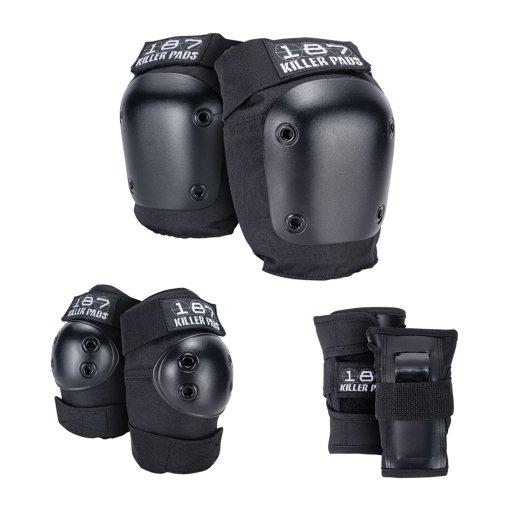 【187 KILLER PADS】Jr SIX PACK キッズ用 手首/肘/膝 3点セットプロテクター c: Black