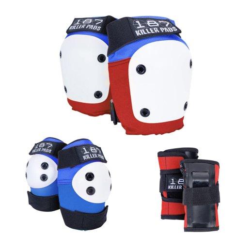 【187 KILLER PADS】Jr SIX PACK キッズ用 手首/肘/膝 3点セットプロテクター c: Blu/Red/Wht