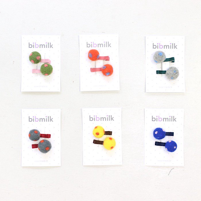【定番】BIBMILK DOT POM CLIPS 2PCS [X6=ko-741134-AC-KD]<X6ko03>