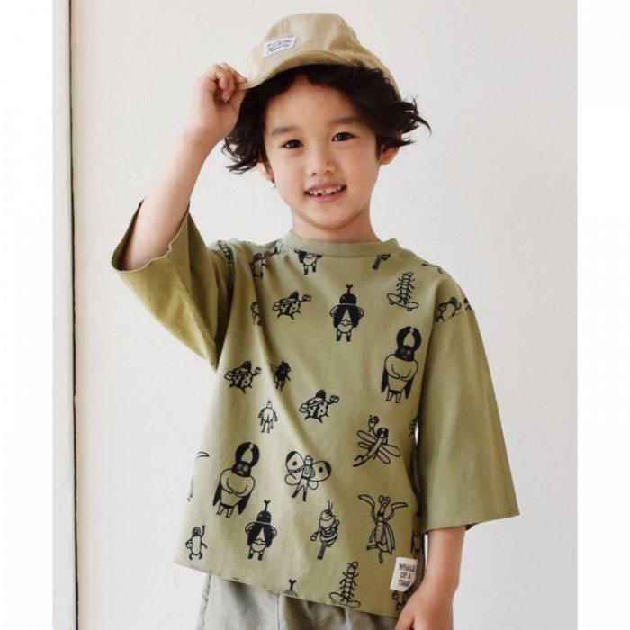 【春夏新作】nico 昆虫ビック7分袖Tシャツ・90-140cm [S8=nh-210201-LT-KD]《店頭取扱品》