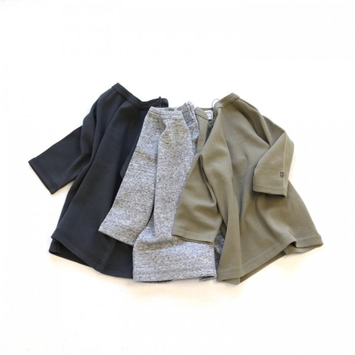 【春夏新作】無地7分袖Tシャツ・ 80-140cm [S8=fo-R206011-LT-KD]《店頭取扱品》