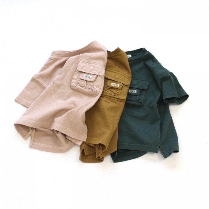 【春夏新作】製品染めポケットTシャツ・ 80-140cm [S8=fo-R207151-ST-KD]《店頭取扱品》
