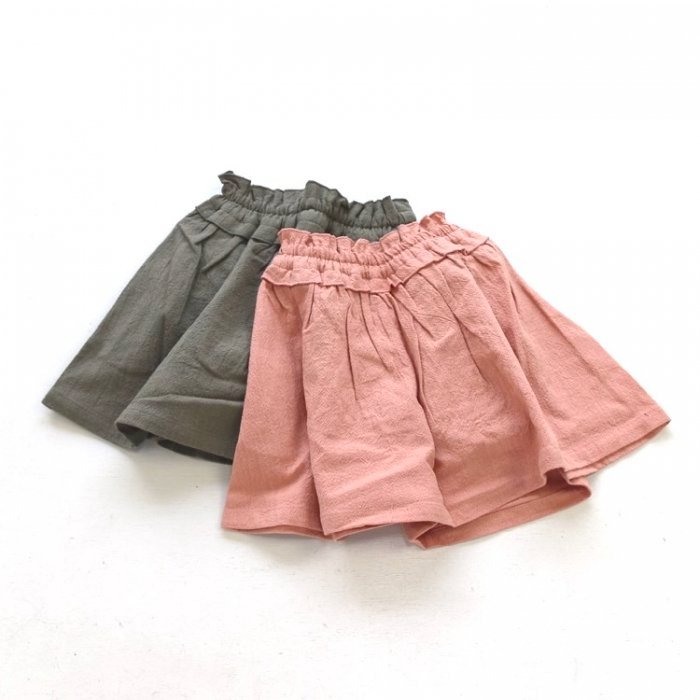 【春夏新作】インパンツ付き無地ギャザースカート・80-140cm [S8=se-S218031-SK-PT-KD]《店頭取扱品》
