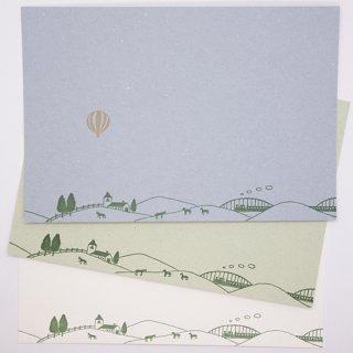 ポストカード  牧場と気球(knoten)