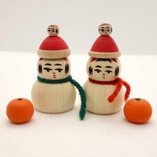 『カガモク』一人二役こけし(雪だるま&鏡餅)