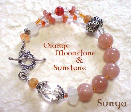 オレンジムーンストーン&サンストーン・ブレスレット
