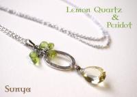 宝石質レモンクォーツ&ペリドット・ネックレス(スターリングシルバー製チェーンネックレス60cm付き)