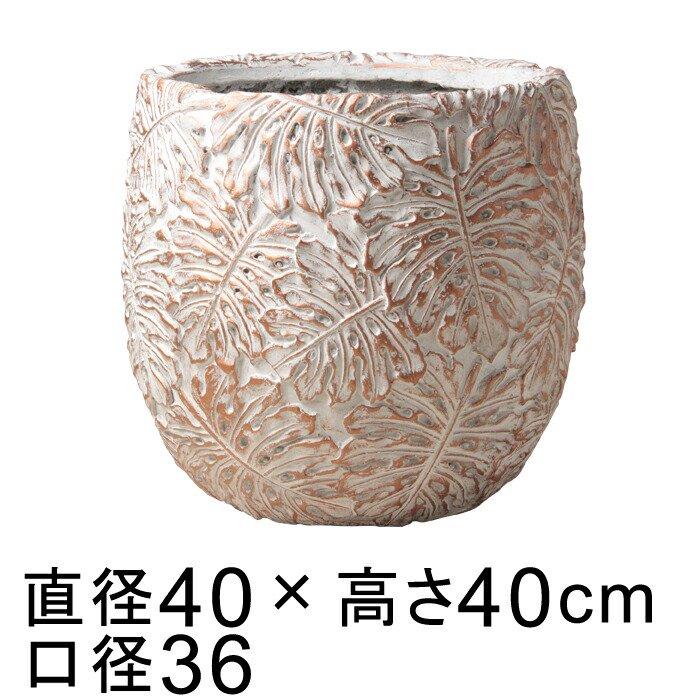 ファイバーセメントポット ホワイト系40cm