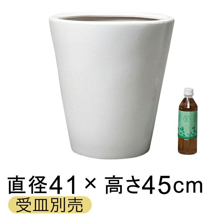 【送料無料】ツルツルM丸深型白色陶器鉢 L 〔受皿別売/つや無〕