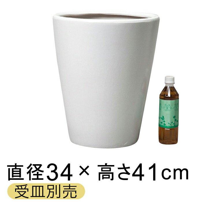ツルツルM丸深型白色陶器鉢 M 〔受皿別売/つや無〕