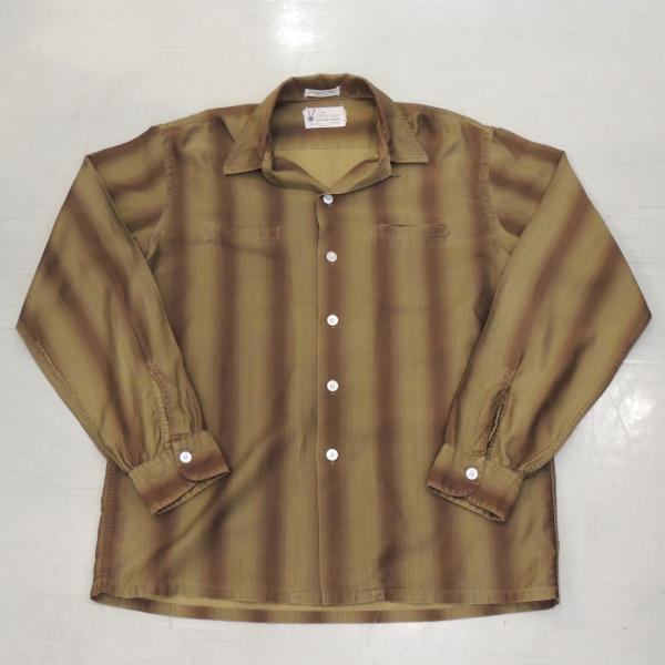 ビンテージ 60〜70'S シャツ ブラウンストライプ
