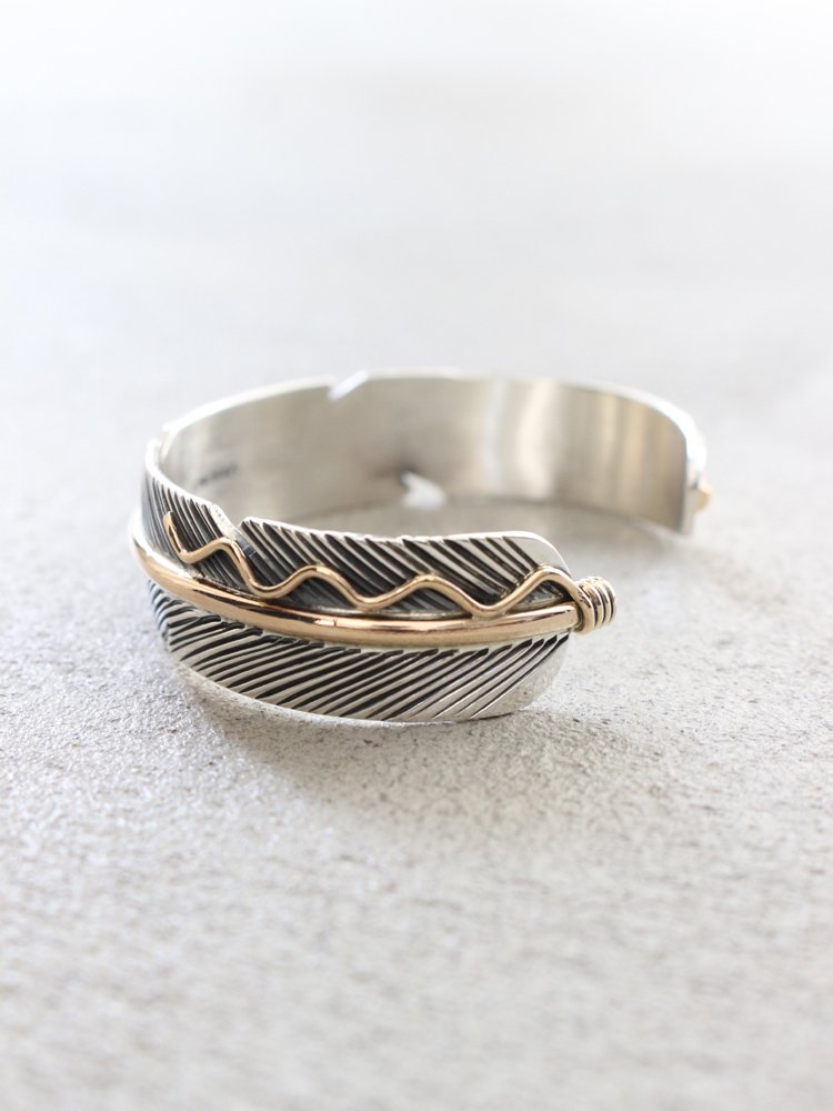 [NAVAJO/Joe Mace] FEATHER BANGLE #SILVER