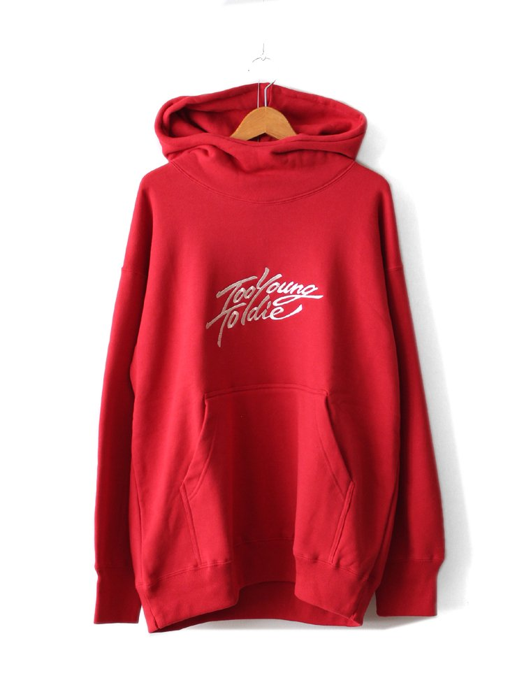embroidery turtle hooded big pullover #RED