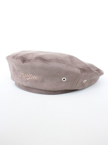 suede beret #BROWN