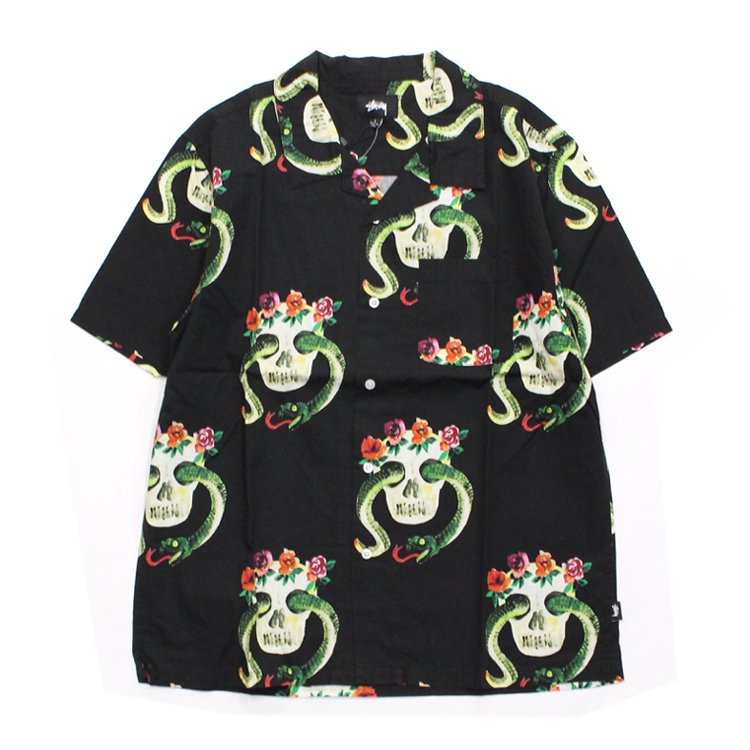 STUSSY | ステューシー Skull Pattern Shirt #BLACK