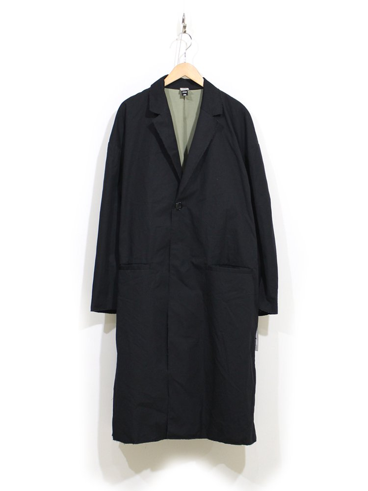 RAW EDGED CHESTER COAT with EMB #BLACK