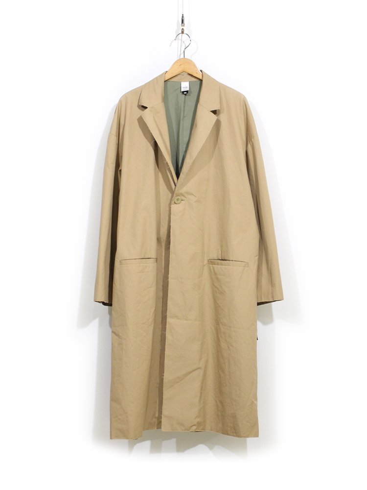 RAW EDGED CHESTER COAT with EMB #BEIGE