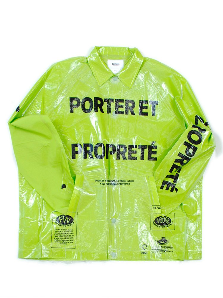 GARBAGE-BAG PACKAGE COACHES JACKET #L.GREEN