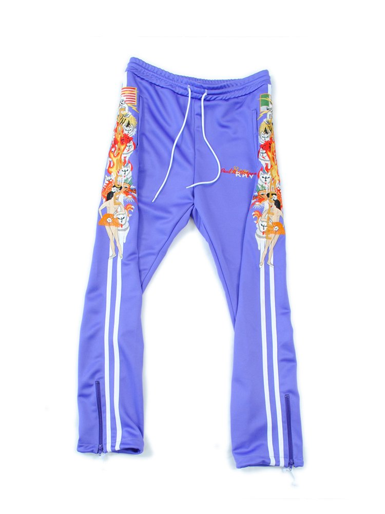 CHAOS EMBROIDERY TRACK PANT #PURPLE