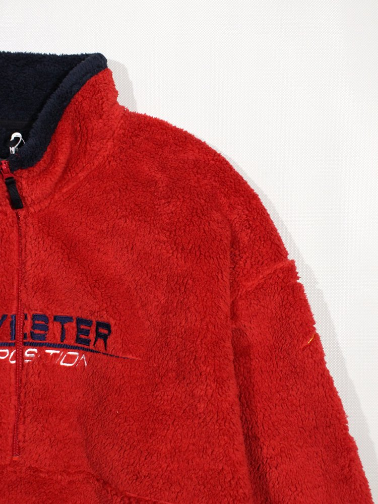 POLYESTER FREECE HALF ZIP PULLOVER #RED