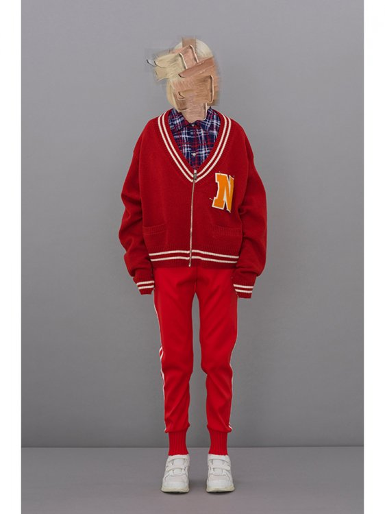 LETTERED ZIP CARDIGAN #RED