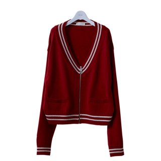 LETTERED ZIP CARDIGAN #RED _ NEON SIGN