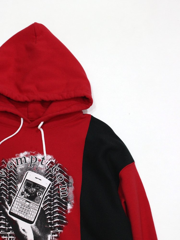 RIB PANELED HEAVY HOODY #RED