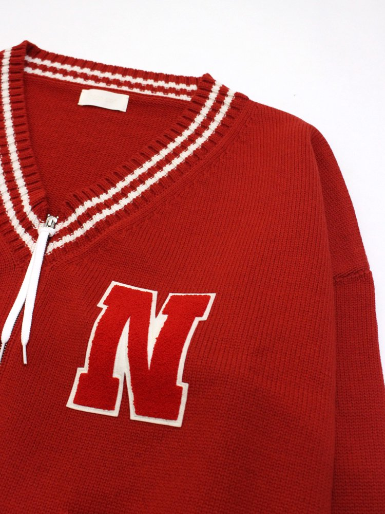 BIG LETTERED CARDIGAN #RED