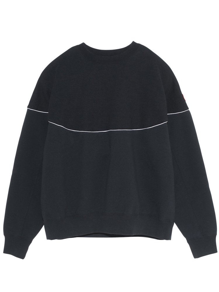 WHITE LINE CREW NECK #BLACK