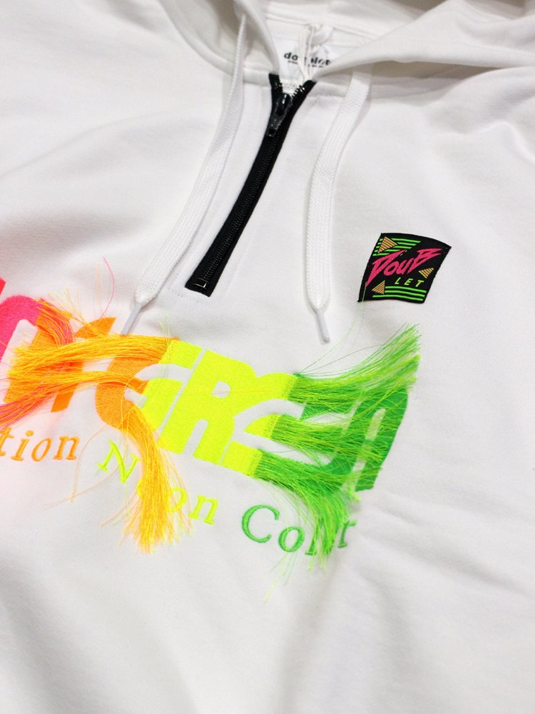 GRADATION NEON EMBROIDERY HOODIE #WHITE