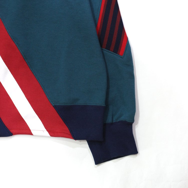 RUGBY MIX RIB SWEAT SHIRT #NAVY