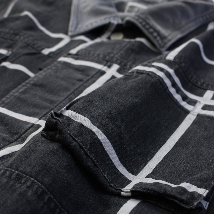 GRID BLACK DENIM JACKET #BLACK
