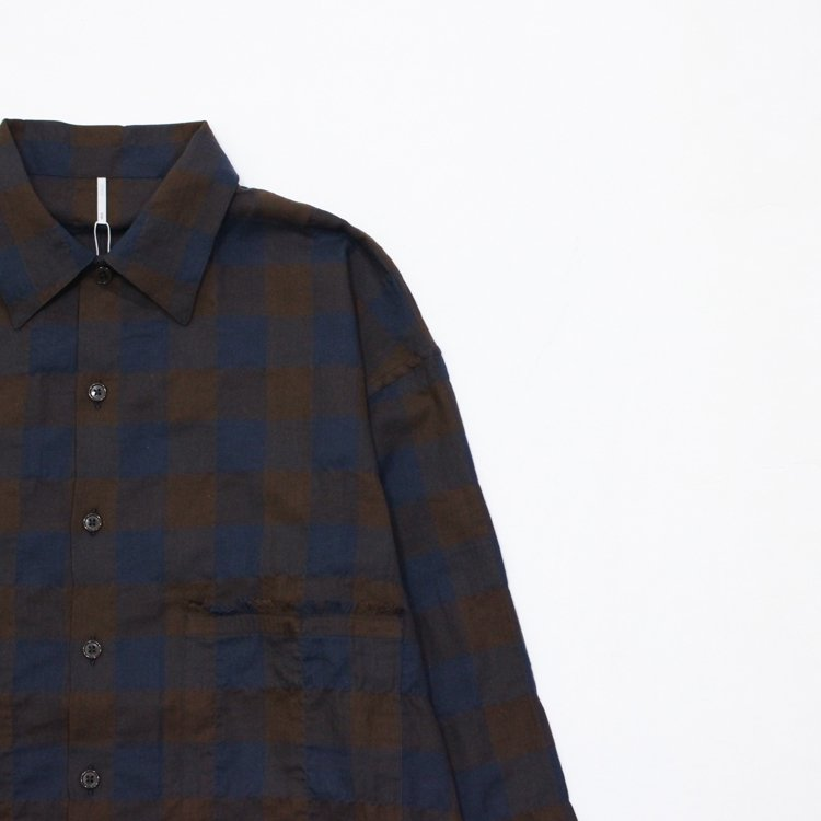 SANKA CHECK SHIRT #BROWN