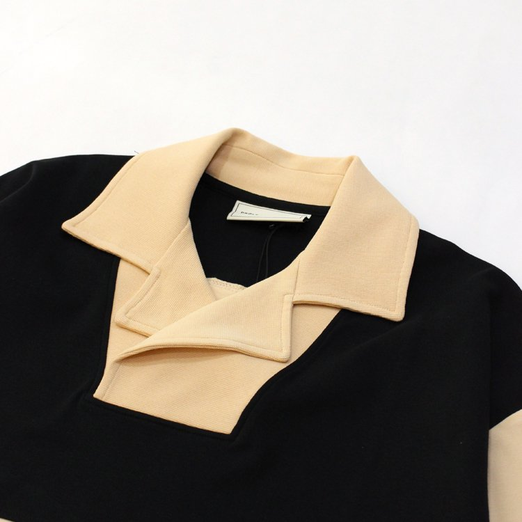 Notched Collar Polo #BEIGE/BLACK