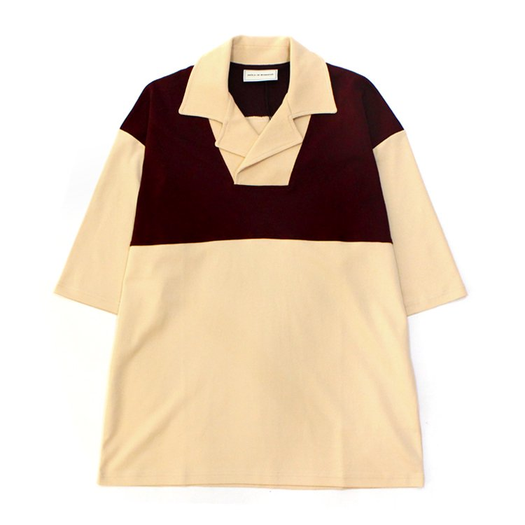 Notched Collar Polo #BEIGE/RED