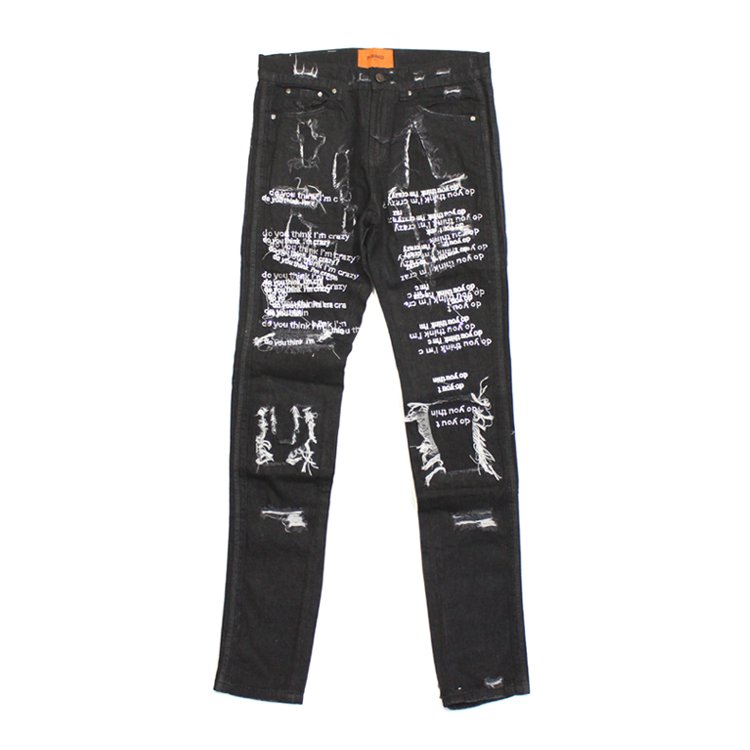 DYTIC White Embroidered Jeans #BLACK