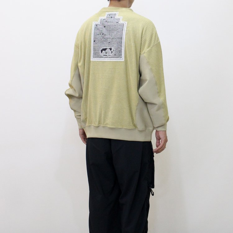 BLOCK FLEECE CREW NECK #BEIGE